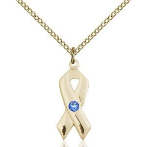 Cancer Awareness Pendant - September Birthstone - Gold Filled #88911