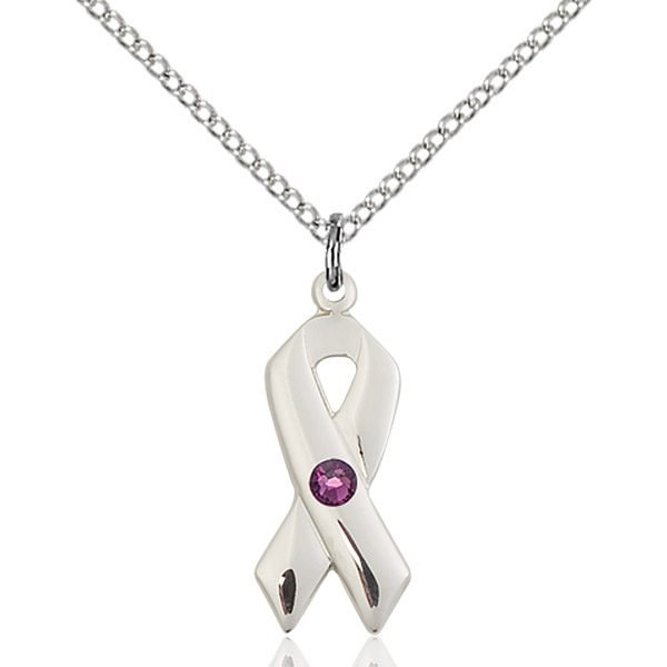 Cancer Awareness Pendant - February Birthstone - Sterling Silver #88928