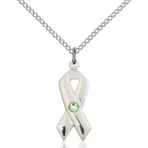Cancer Awareness Pendant - August Birthstone - Sterling Silver #88934