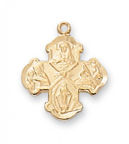 Four Way Medal in Gold Plated Sterling Silver