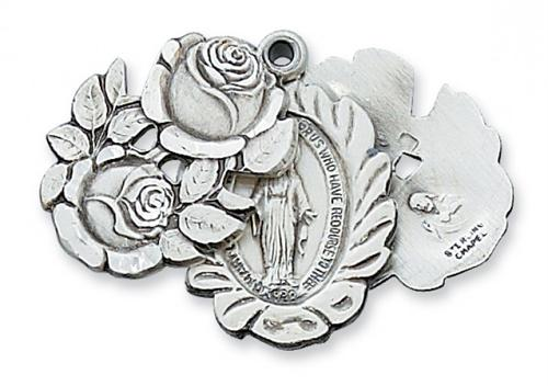 Miraculous Medal Behind a Rose in Sterling Silver