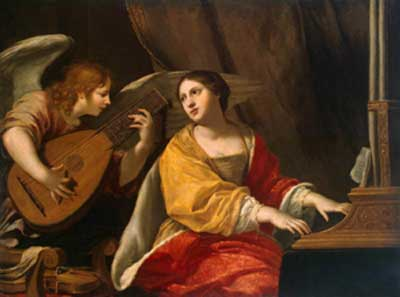 Saint Cecilia Playing Music