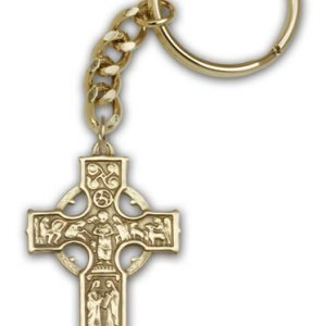 Antique Gold Celtic Cross Keychain
