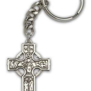 Antique Silver Celtic Cross Keychain