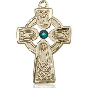 Celtic Cross Medal - May Birthstone - 14 KT Gold #88973