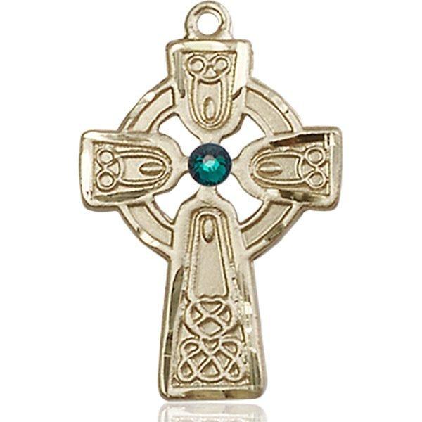 Celtic Cross Medal - May Birthstone - 14 KT Gold #88973