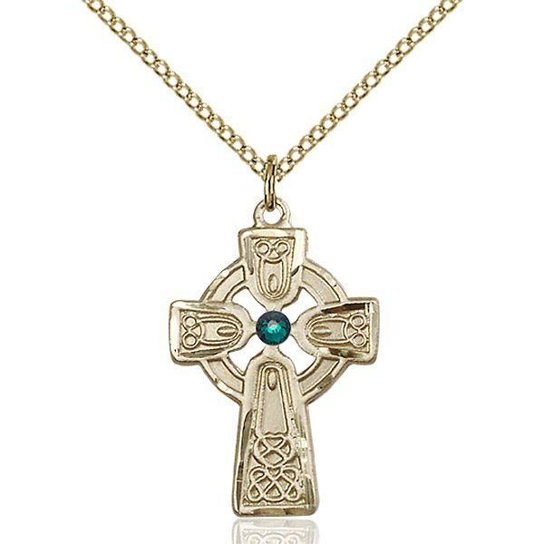 Celtic Cross Pendant - May Birthstone - Gold Filled #88972