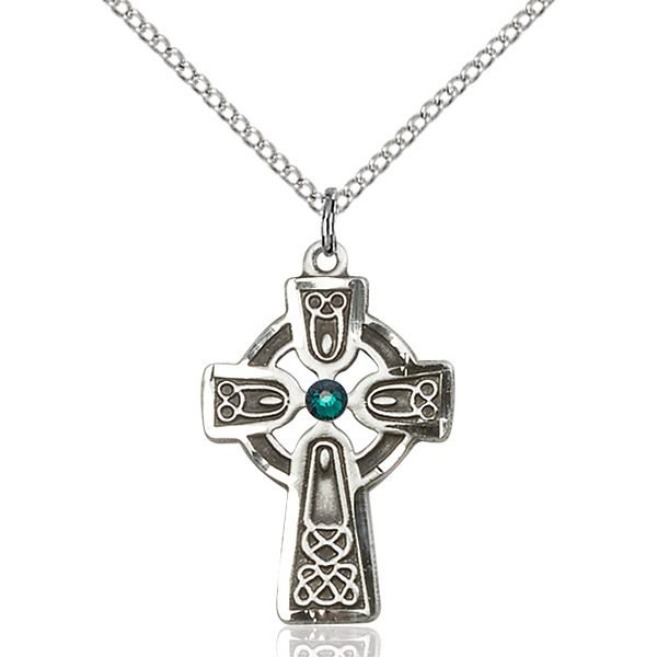 Celtic Cross Pendant - May Birthstone - Sterling Silver #88974