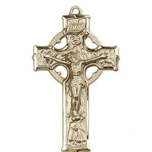 14kt Gold Celtic Crucifix Medal #87690