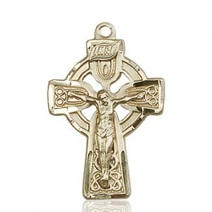14kt Gold Celtic Crucifix Medal #87762