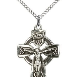 Sterling Silver Celtic Crucifix Necklace #87763