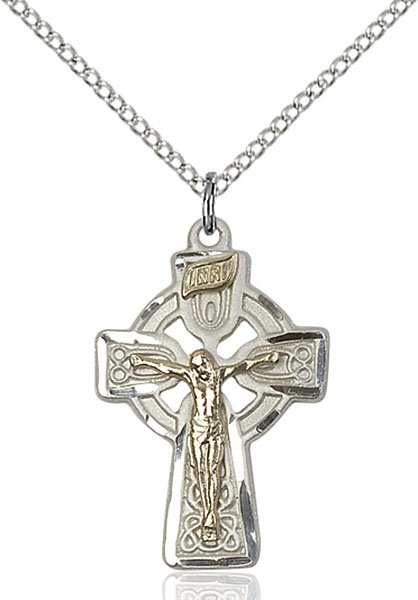 Celtic Crucifix Necklace - Two-Tone GF/SS (#87565)