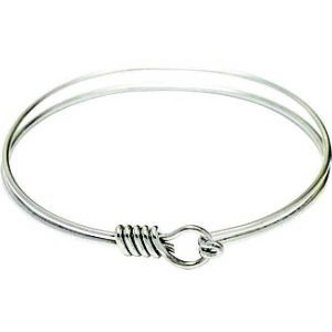Charm Bracelet - Oval Eye Hook Bangle with Twist - Rhodium Plate