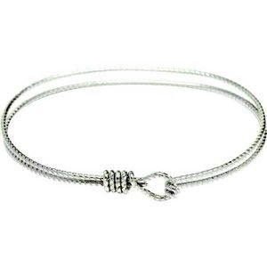 Charm Bracelet - Textured Rhodium Plate Bangle