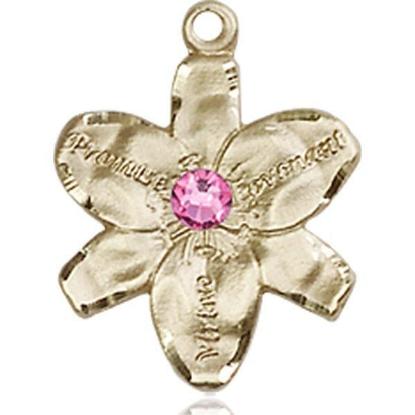 Chastity Medal - October Birthstone - 14 KT Gold #88151