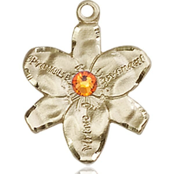 Chastity Medal - November Birthstone - 14 KT Gold #88152