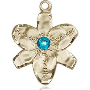 Chastity Medal - December Birthstone - 14 KT Gold #88153