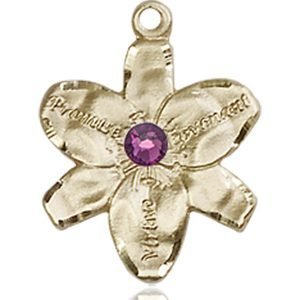 Chastity Medal - February Birthstone - 14 KT Gold #88154