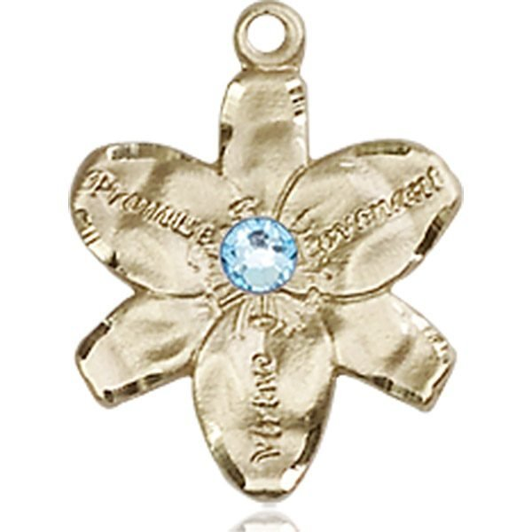 Chastity Medal - March Birthstone - 14 KT Gold #88155