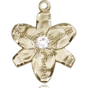 Chastity Medal - April Birthstone - 14 KT Gold #88156