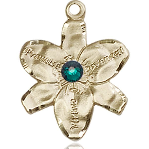 Chastity Medal - May Birthstone - 14 KT Gold #88157