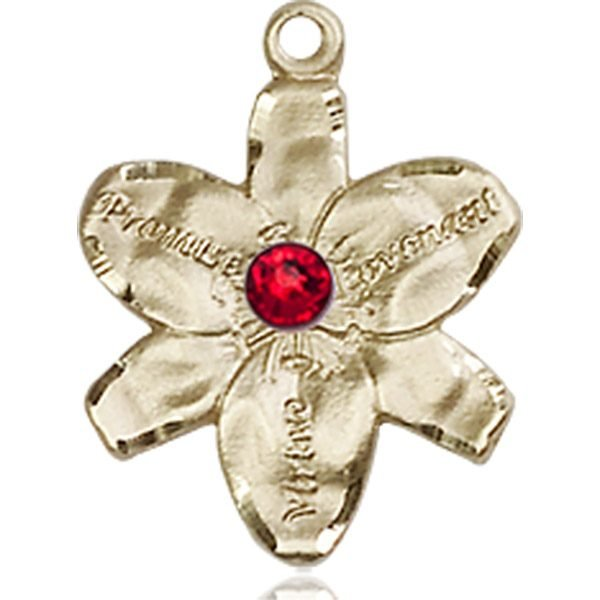 Chastity Medal - July Birthstone - 14 KT Gold #88159
