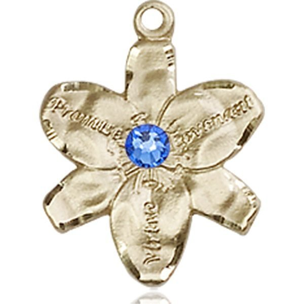 Chastity Medal - September Birthstone - 14 KT Gold #88161