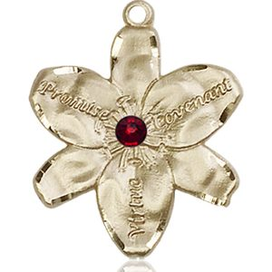 Chastity Medal - January Birthstone - 14 KT Gold #88186