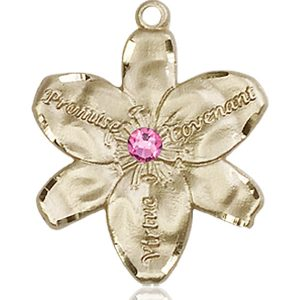 Chastity Medal - October Birthstone - 14 KT Gold #88187