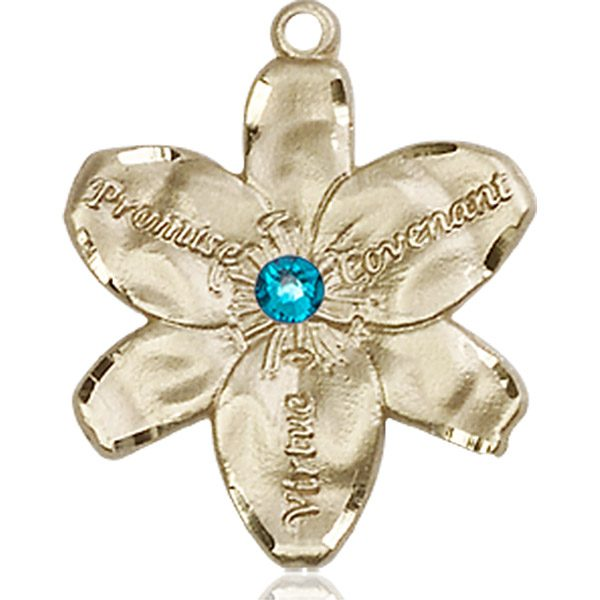 Chastity Medal - December Birthstone - 14 KT Gold #88189
