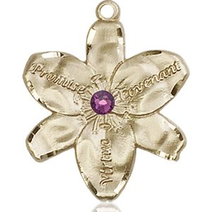 Chastity Medal - February Birthstone - 14 KT Gold #88190