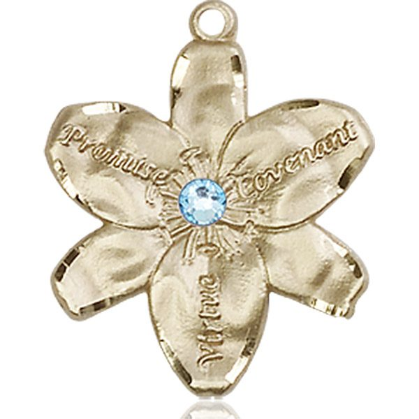 Chastity Medal - March Birthstone - 14 KT Gold #88191