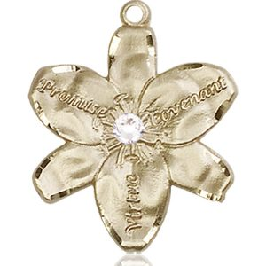Chastity Medal - April Birthstone - 14 KT Gold #88192