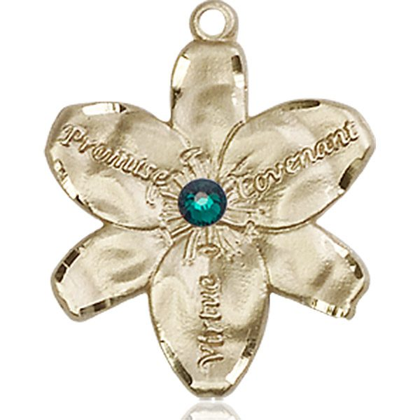 Chastity Medal - May Birthstone - 14 KT Gold #88193