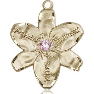 Chastity Medal - June Birthstone - 14 KT Gold #88194