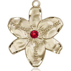 Chastity Medal - July Birthstone - 14 KT Gold #88195