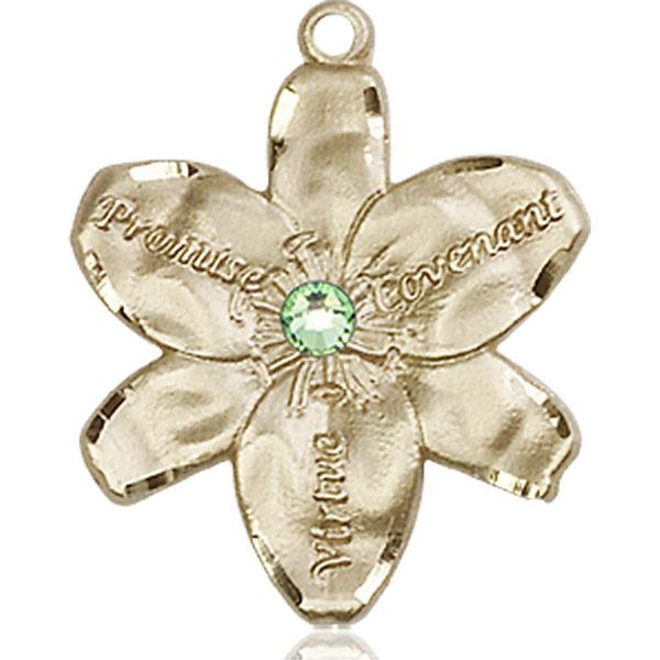 Chastity Medal - August Birthstone - 14 KT Gold #88196