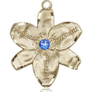 Chastity Medal - September Birthstone - 14 KT Gold #88197