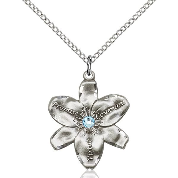 Chastity Pendant - March Birthstone - Sterling Silver #88203