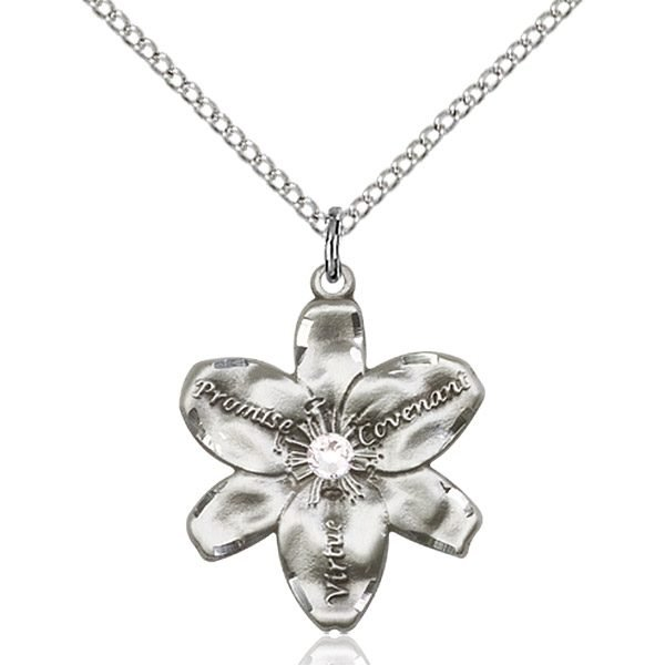 Chastity Pendant - April Birthstone - Sterling Silver #88204