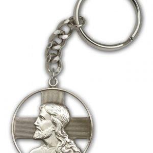 Antique Silver Christ Keychain
