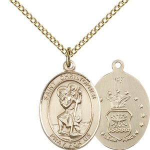 14kt Gold Filled St. Christopher - Air Force Pendant