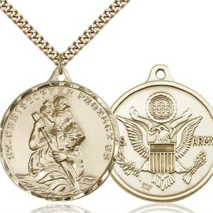 St. Christopher Army Pendant - Gold Filled (#89729)