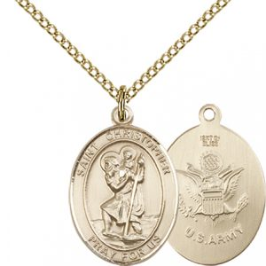 14kt Gold Filled St. Christopher - Army Pendant