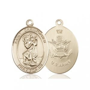 14kt Gold St. Christopher - Army Medal