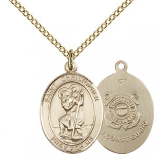 14kt Gold Filled St. Christopher - Coast Guard Pendant