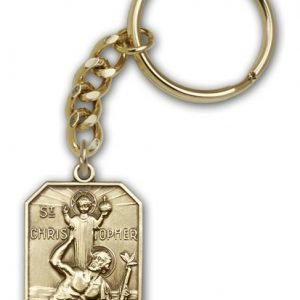 Antique Gold St Christopher Keychain