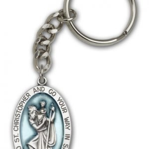 Antique Silver St Christopher Keychain