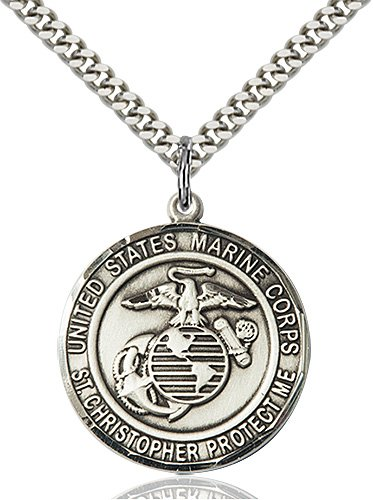 Sterling Silver Marines - St. Christopher Pendant