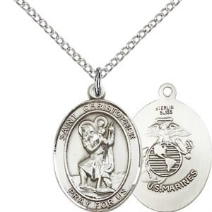 Sterling Silver St. Christopher - Marines Pendant